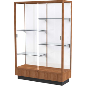 "Heritage Display Case Danish Walnut, White Back 48""W x 18""D x 70""H"
