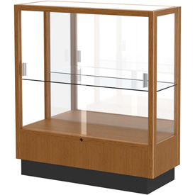 "Heritage Display Case Carmel Oak, Mirror Back 36""W x 14""D x 40""H"