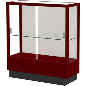 "Heritage Display Case Cordovan, Fabric Back 36""W x 14""D x 40""H"