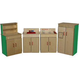Wood Designs™ Set of Four Green Apple Classic Appliances with Deluxe Hutch
