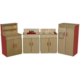 Wood Designs™ Set of Four Strawberry Red Classic Appliances with Deluxe Hutch