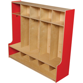 """Strawberry Red Five Section Offset Locker, 54""""W"""