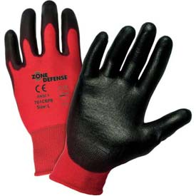 Zone Defense™ Red Poly/Cotton Shell Coated Gloves, Black Latex Palm Coat, Large - Pkg Qty 12