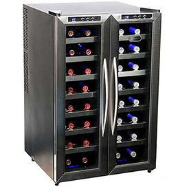 Whynter WC-321DD Wine Cooler, Dual Temperature Zone, Holds 32 Bottles by