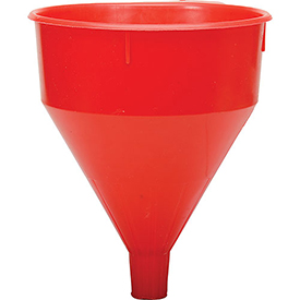 Click here to buy Funnel King Red Safety Polyethylene 6 Quart Funnel 32005.