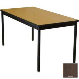 "WB Mfg 42"" x 60"" Lobo Heavy Duty Table w/ Armor Edge Laminate Top & Fixed Legs, Montana Walnut"