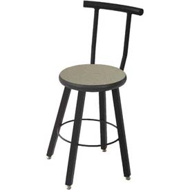 Wisconsin Bench Welded Stool with Backrest - Fixed Legs - Gray