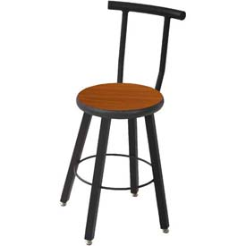 Wisconsin Bench Welded Stool with Backrest - Fixed Legs - Cherry