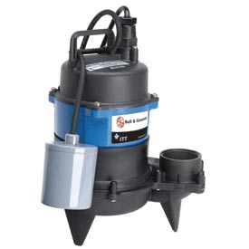"Bell & Gossett 2WP0511A 2"" Submersible Vortex Sewage Pump - 0.5 HP- 1550 RPM- 115V- 13 Amps"