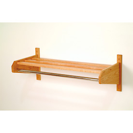 "25 3/4"" Hat & Coat Rack w/ 5/8"" Chrome Bar - Light Oak"