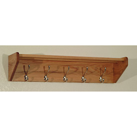 "32 3/4"" Hat & Coat Rack with 5 Nickel Hooks - Light Oak"