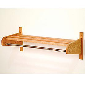 "33 3/4"" Hat & Coat Rack w/ Chrome Bar - Light Oak"