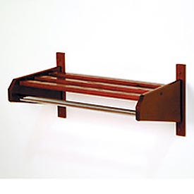 "37 3/4"" Coat and Hat Rack w/Chrome Bar - Mahogany"