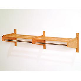 "49 3/4"" Double Hat & Coat Rack w/ Chrome Bar - Light Oak"