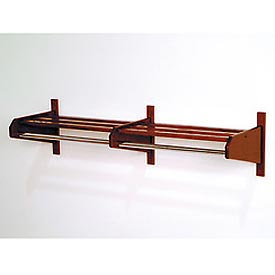 "73 3/4"" Double Hat & Coat Rack w/ 5/8"" Chrome Bar - Mahogany"