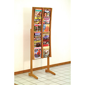 12 Pocket Contemporary Floor Display - Medium Oak