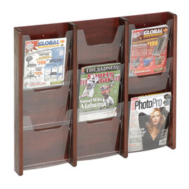 9 Pocket (3Wx3H) Acrylic & Oak Wall Display - Mahogany