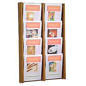 8 Pocket (2Wx4H) Acrylic & Oak Wall Display - Medium Oak