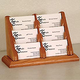 6 Pocket Counter Top Business Card Holder - Medium Oak