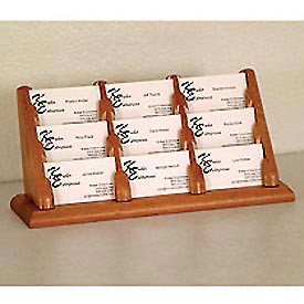 9 Pocket Counter Top Business Card Holder - Medium Oak