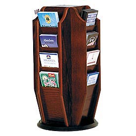 Countertop 16 Brochure Rotary Display - Mahogany