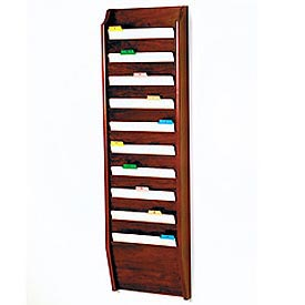 10 Pocket Chart Holder - Mahogany