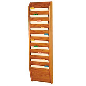 10 Pocket Chart Holder - Medium Oak