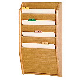 4 Pocket Chart Holder - Light Oak