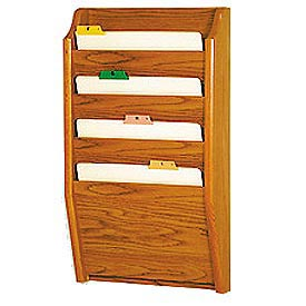 4 Pocket Chart Holder - Medium Oak