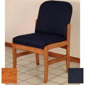 Wooden Mallet Prairie Armless Guest Chair with Standard Leg, Solid Vinyl, Black/Medium Oak