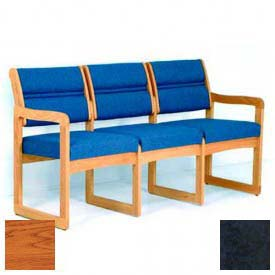 Wooden Mallet Valley Three Seat Sofa with Sled Base, Watercolor Designer Fabric, Blue/Medium Oak