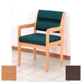 Wooden Mallet Valley Guest Chair with Standard Leg, Solid Vinyl, Mocha/Light Oak
