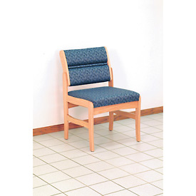 Guest Chair w/o Arms - Light Oak/Blue Water Pattern Fabric