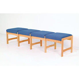 Four Person Bench - Light Oak/Blue Water Pattern Fabric