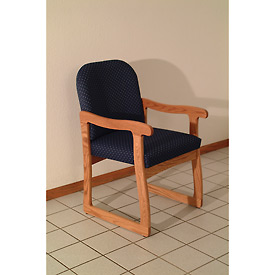 Single Sled Base Chair w/ Arms - Mahogany/Blue Arch Pattern Fabric