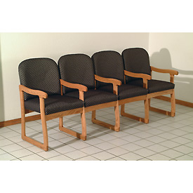 Quadruple Sled Base Chair w/ Arms - Medium Oak/Gray Arch Pattern Fabric
