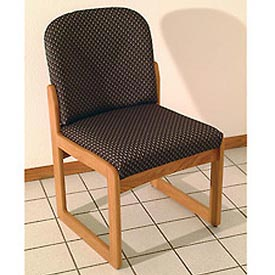 Single Sled Base Chair w/o Arms - Light Oak/Khaki Arch Pattern Fabric