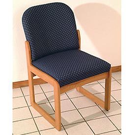 Single Sled Base Chair w/o Arms - Light Oak/Blue Vinyl