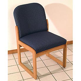 Single Sled Base Chair w/o Arms - Light Oak/Blue Water Pattern Fabric