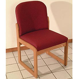Single Sled Base Chair w/o Arms - Mahogany/Burgundy Arch Pattern Fabric