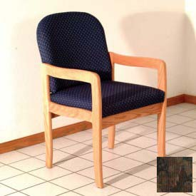 Single Standard Leg Chair w/ Arms - Mahogany/Earth Water Pattern Fabric
