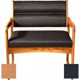 Wooden Mallet Valley Bariatric Guest Chair with Sled Base, Solid Vinyl, Black/Light Oak