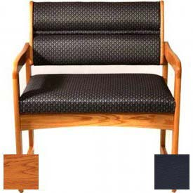 Wooden Mallet Valley Bariatric Guest Chair with Sled Base, Solid Vinyl, Black/Medium Oak