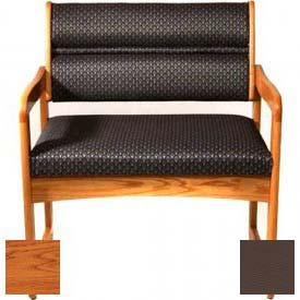 Wooden Mallet Valley Bariatric Guest Chair with Sled Base, Solid Vinyl, Mocha/Medium Oak