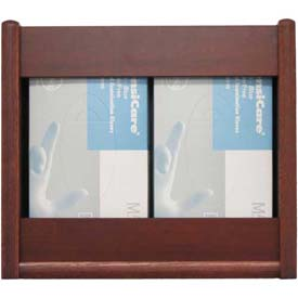 Wooden Mallet 2 Pocket Glove/Tissue Box Holder - Rectangle, Mahogany