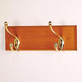 "12"" Coat Rack with 2 Brass Hooks - Medium Oak"