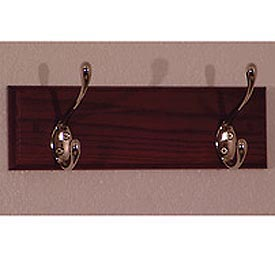 "12"" Coat Rack with 2 Nickel Hooks - Mahogany"