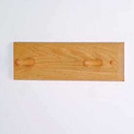 "12"" Coat Rack with 2 Wood Pegs - Light Oak"