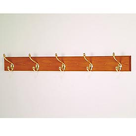 "36"" Coat Rack with 5 Brass Hooks - Medium Oak"