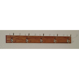 "36"" Coat Rack with 5 Nickel Hooks - Medium Oak"
